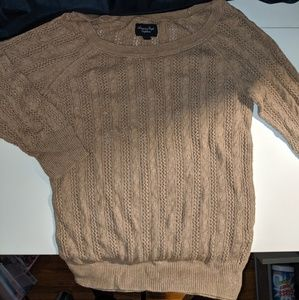 American Eagle Lightweight Tan Knit Woven Sweater
